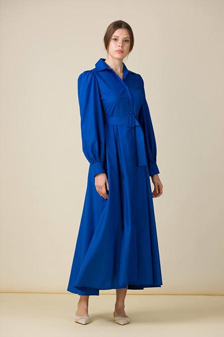 Eda Atalay Saks Kemer Detaylı Poplin Gömlek Elbise