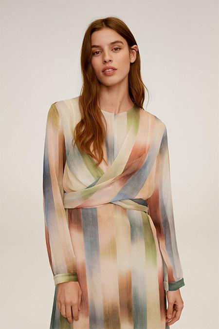 Mango Orta Kahverengi Desenli Anvelop Kesim Elbise