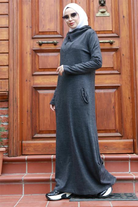Neways Antrasit Kapüşonlu Triko Elbise