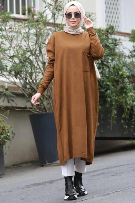 Neways Hardal Cep Detaylı Triko Elbise
