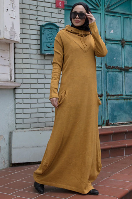 Neways Hardal Kapüşonlu Triko Elbise