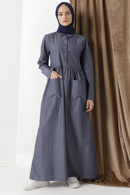 Phull Koyu Mavi Kot Organik Kumaş Elbise