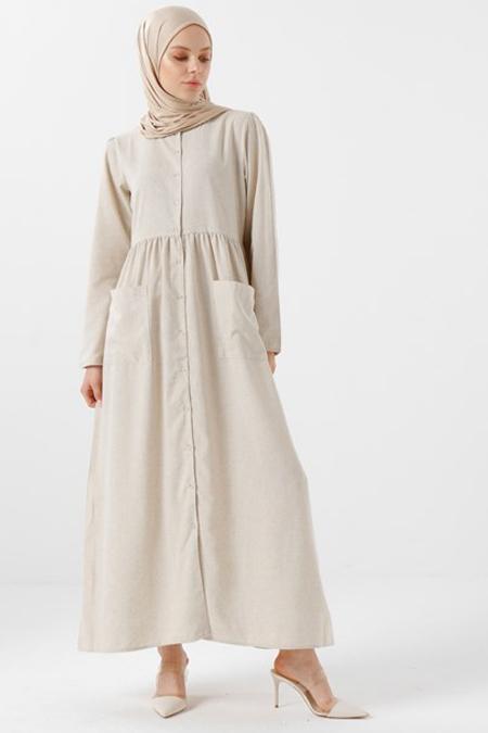 Phull Bej Keten Karışımlı Elbise