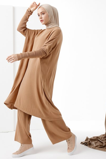 Phull Camel Bisiklet Yaka Triko Tunik