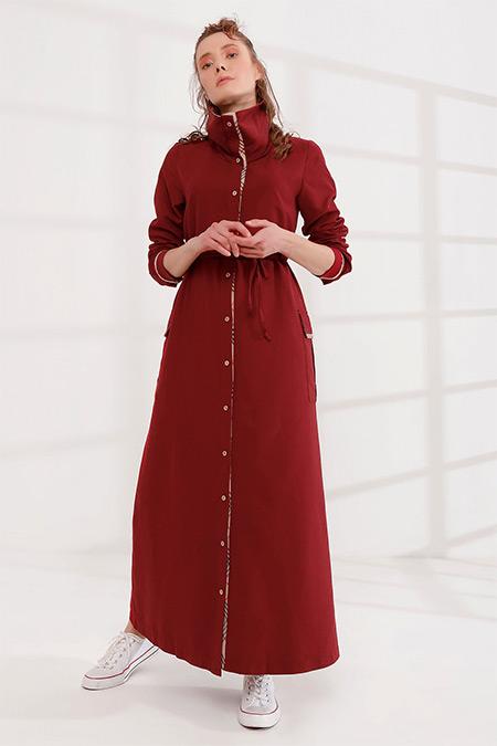 Rabia Şamlı Bordo Önü Düğmeli Dik Yaka Elbise