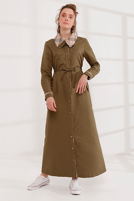 Rabia Şamlı Haki Önü Düğmeli Dik Yaka Elbise