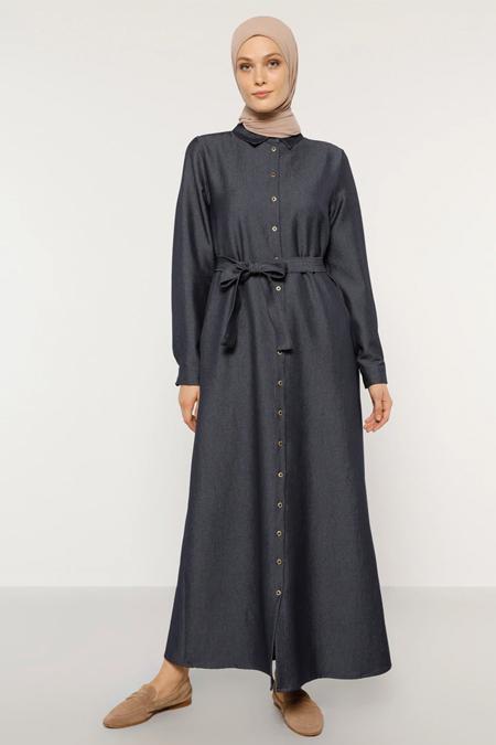 Refka İndigo Gizli Cepli Kuşaklı Denim Elbise