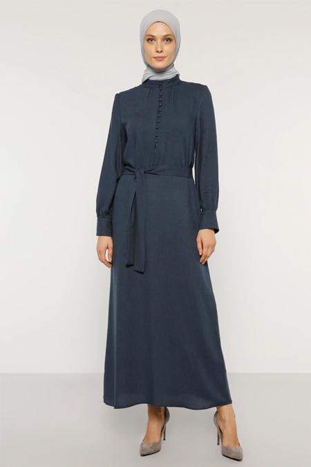 Refka Lacivert Düğme Detaylı Kuşaklı Elbise
