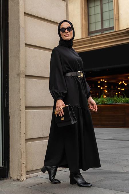 Refka Siyah Beli Bağlamalı Elbise