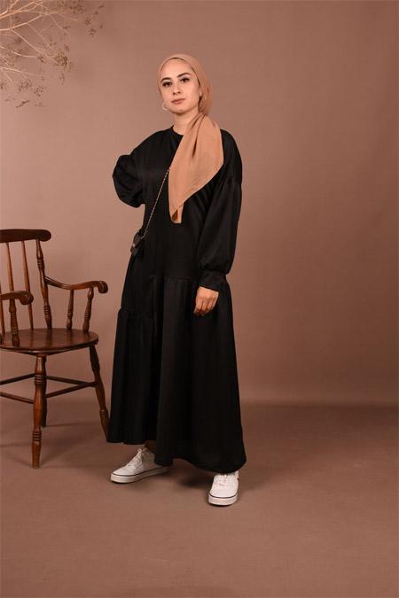 Elizamoda Siyah Fırfır Detaylı Elbise