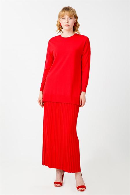 Tığ Triko Kırmızı Pileli Etek Bluz Rayon Takım