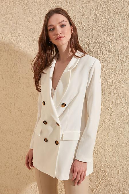 Trendyolmilla Ekru Oversize Blazer Ceket