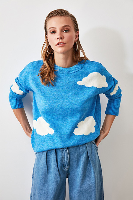 Trendyolmilla Mavi Bulut Desenli Triko Kazak