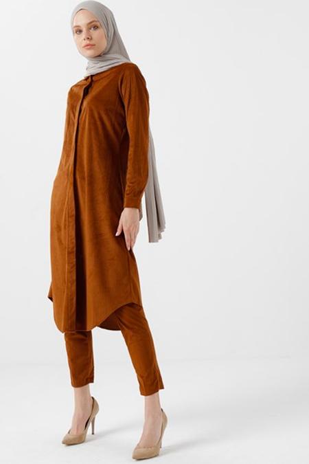 Vera Moda Taba Düğmeli Kadife Tunik