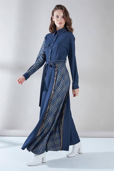 Zühre İndigo Önden Çıtçıt Detaylı Elbise