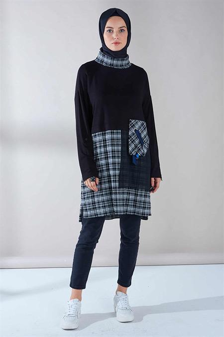 Zühre Siyah Yaka Şerit Detaylı Tunik