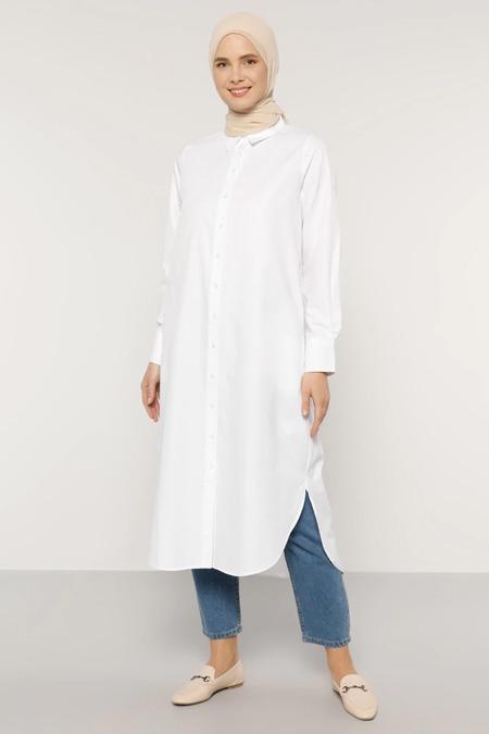 Everyday Basic Beyaz Boydan Düğmeli Tunik
