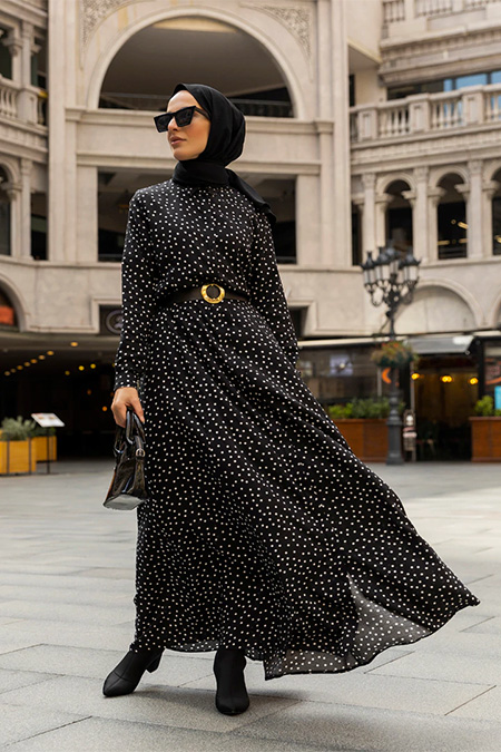 Refka Siyah Doğal Kumaşlı Puantiye Desenli Elbise