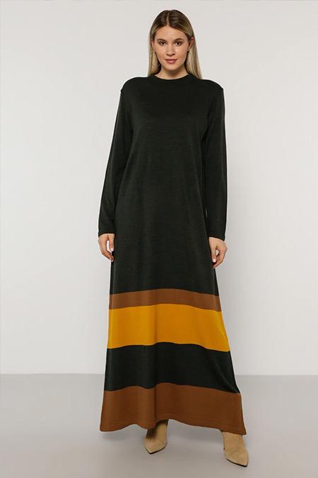 Alia Haki Hardal Triko Elbise