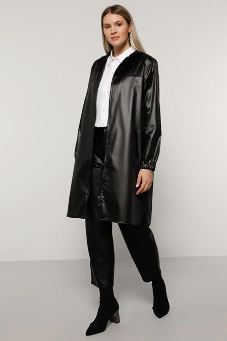 Alia Siyah Fermuarlı Ceket