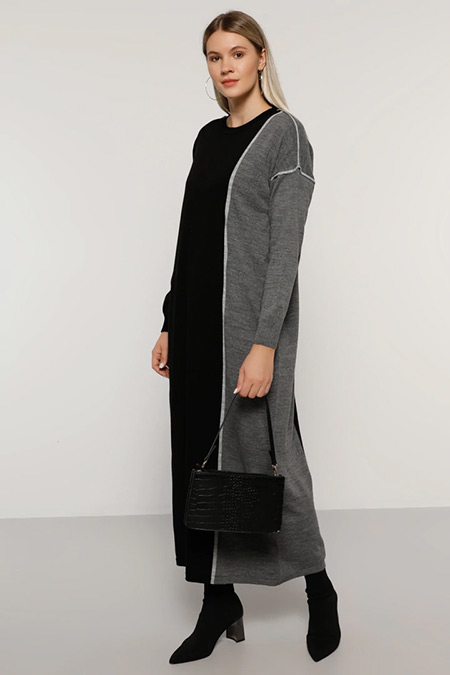 Alia Siyah Gri Ekru Biye Detaylı Triko Elbise