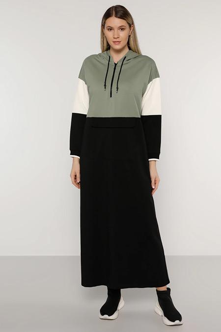 Alia Siyah Yağ Yeşili Ekru Yakası Fermuarlı Kapüşonlu Elbise