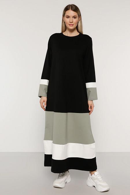 Alia Siyah Yağ Yeşili Garnili Elbise