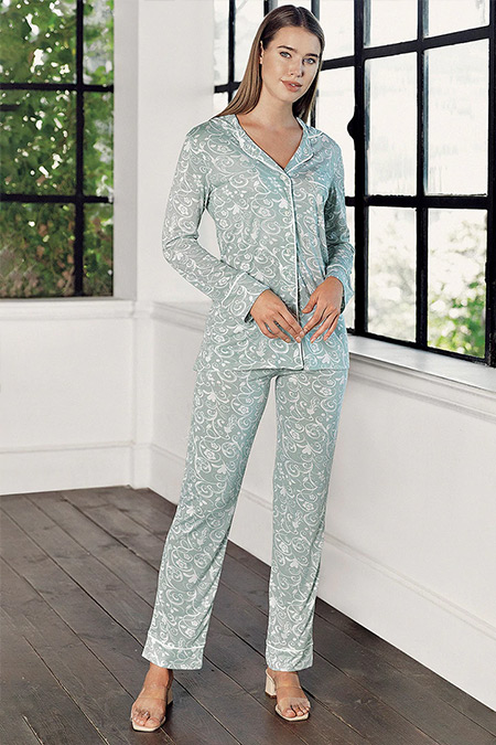 Artış Collection Çağla Yeşili Desenli Pijama Takımı