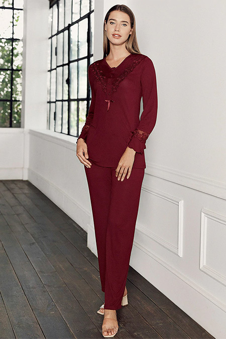 Artış Collection Bordo İkili Pijama Takımı