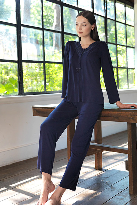 Artış Collection Lacivert İkili Pijama Takımı