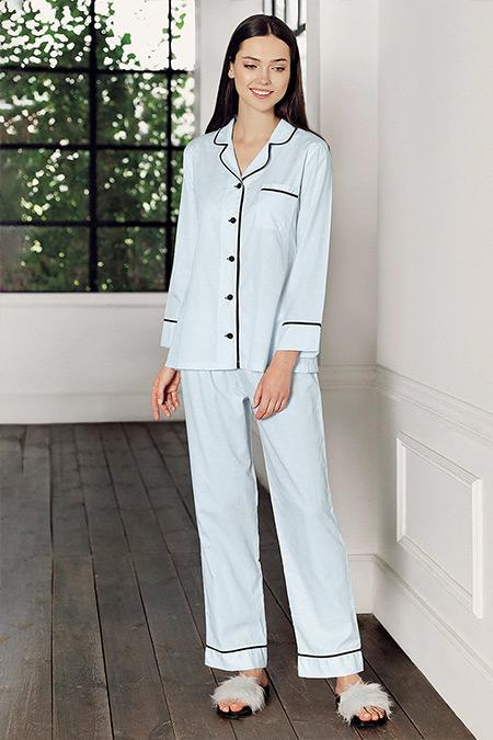 Artış Collection Mavi Jakarlı İkili Pijama Takımı
