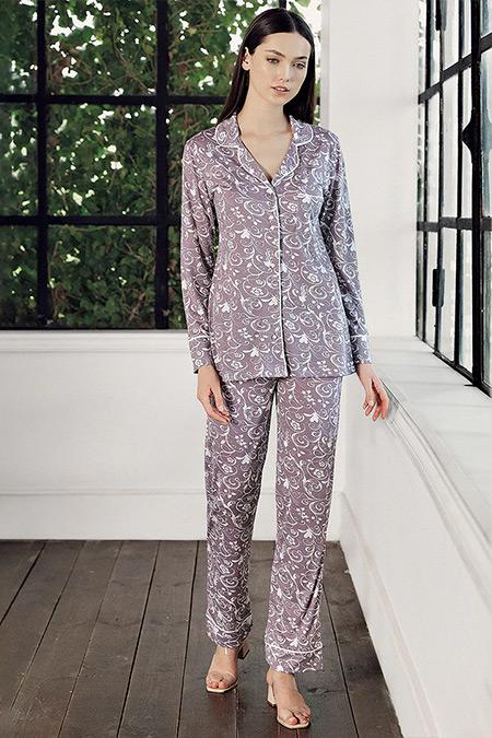 Artış Collection Mor Desenli Pijama Takımı