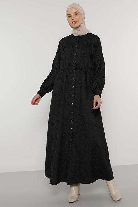Benin Antrasit Çıtçıtlı Elbise