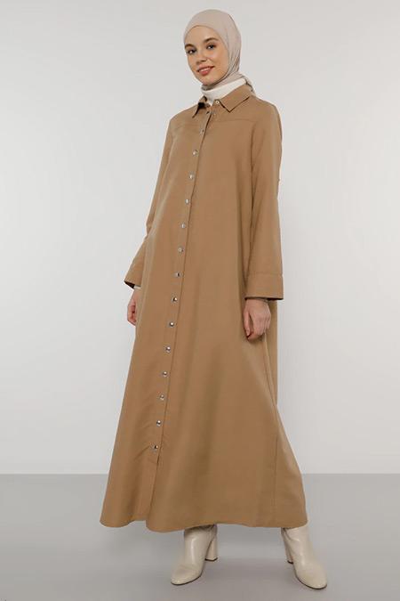 Benin Camel Çıtçıtlı Elbise