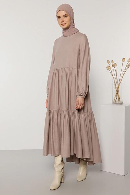 Benin Derin Pembe Doğal Kumaşlı Salaş Elbise