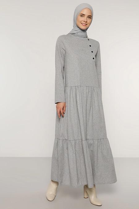 Benin Gri Çıtçıt Detaylı Elbise