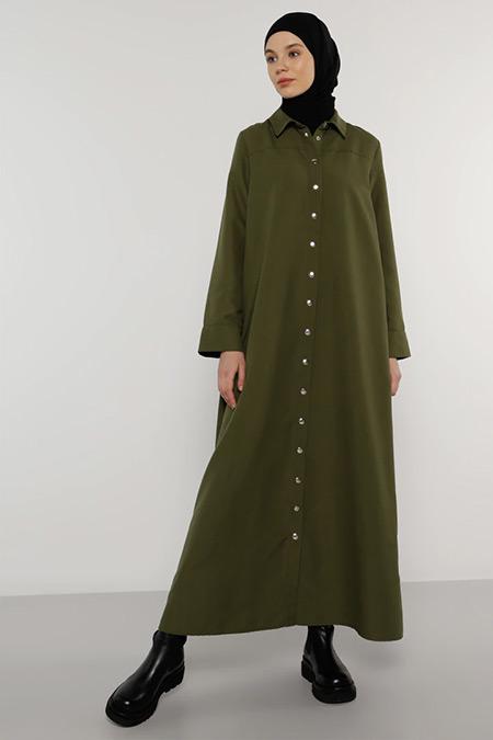 Benin Haki Çıtçıtlı Elbise