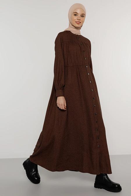 Benin Kahverengi Çıtçıtlı Elbise