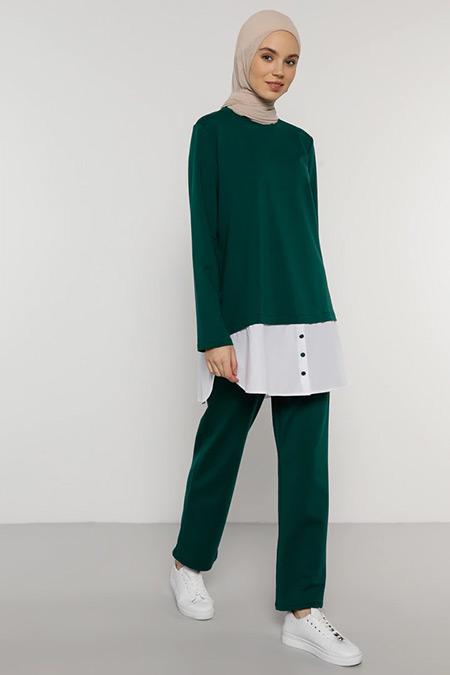 Benin Orman Yeşili Tunik&Pantolon İkili Takım