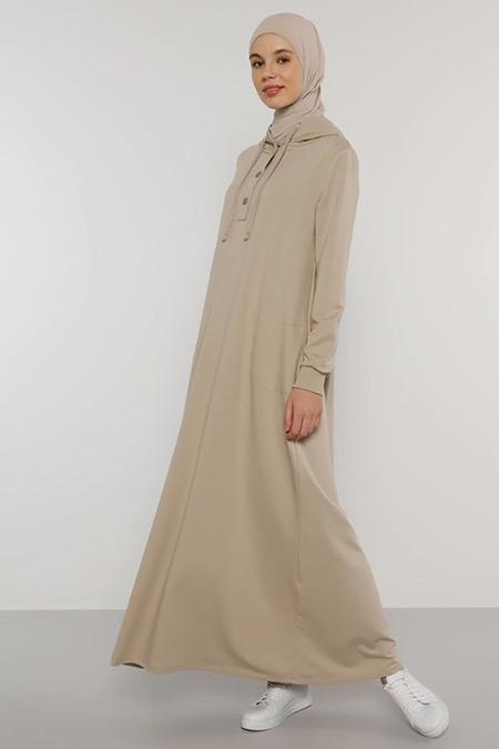 Benin Vizon Çıtçıt Detaylı Kapüşonlu Elbise