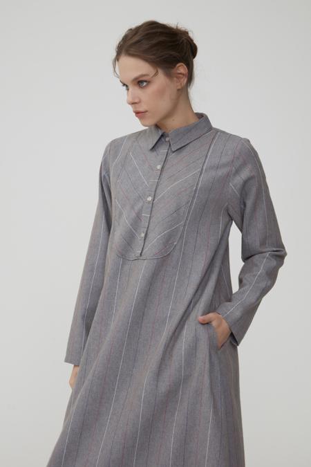 Normcore Gri Verev Çizgili Doğal Kumaş Elbise
