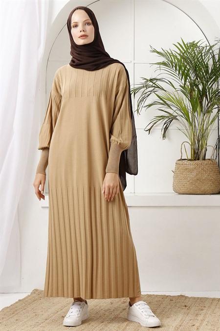 İnşirah Camel Fitilli Triko Elbise