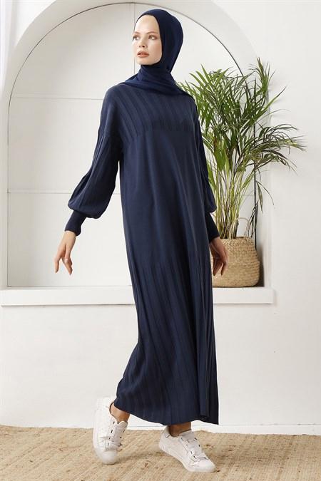 İnşirah Lacivert Fitilli Triko Elbise