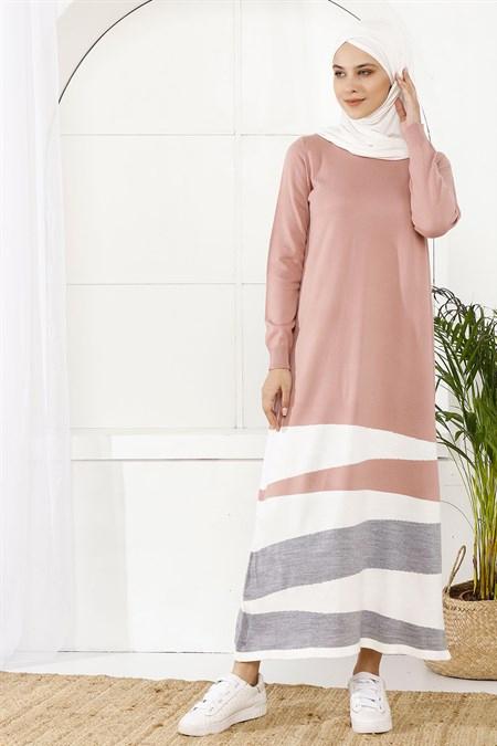 İnşirah Pudra Pembe Parçalı Renkli Elbise