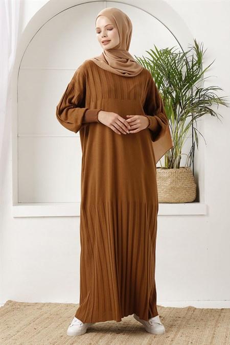 İnşirah Tarçın Fitilli Triko Elbise
