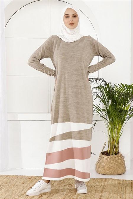 İnşirah Vizon Parçalı Renkli Elbise
