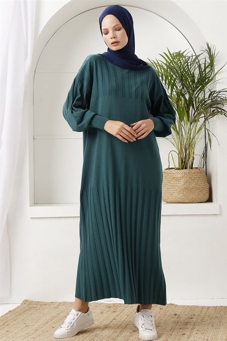 İnşirah Zümrüt Yeşili Fitilli Triko Elbise