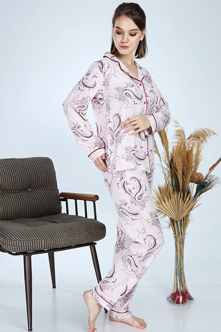 Ladymina Pijama Ekru Modern Baskılı Pijama Takımı
