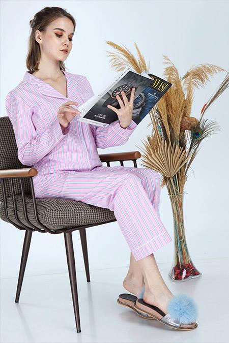 Ladymina Pijama Pembe Modern Çizgili Pijama Takımı