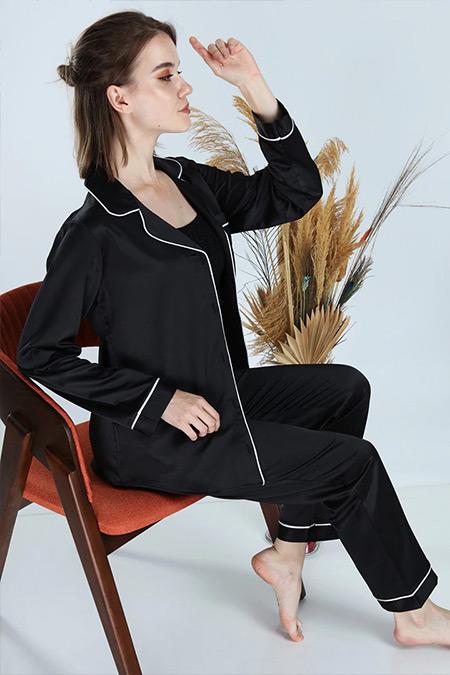 Ladymina Pijama Siyah Modern Pijama Takımı